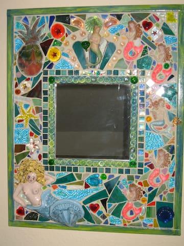 Hand made mosaic mermaid mirror