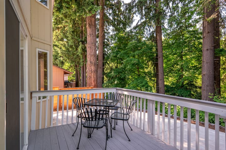 Backyard and Deck with small patio table