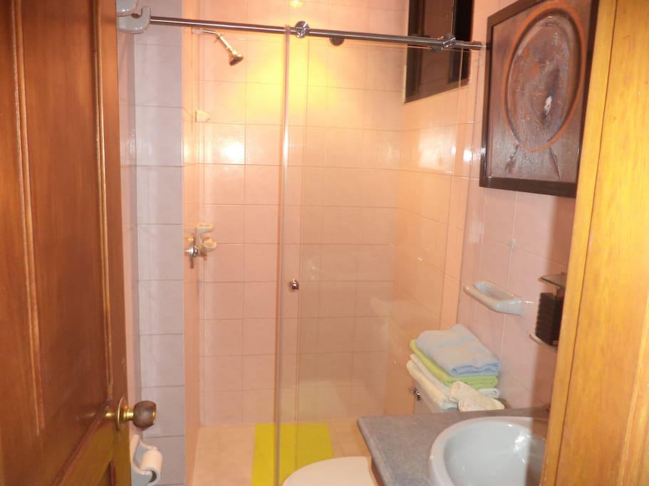 WC.Con ducha, recien remodelado. Todo nuevo. Toallas y demas elementos se ofrecen al husped