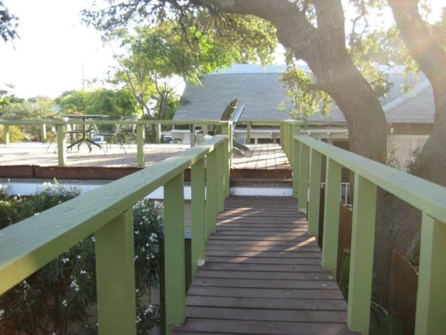 Bridge from lower deck to upper deck.  More fencing has been added