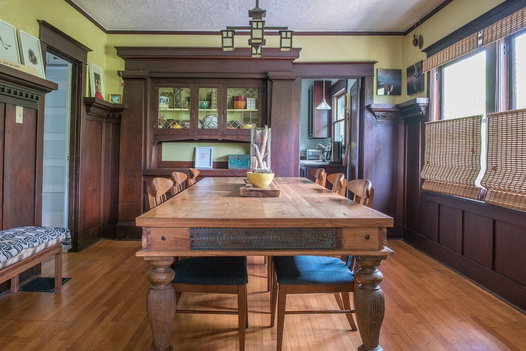 Large dining table is perfect for hosting a quiet dinner party