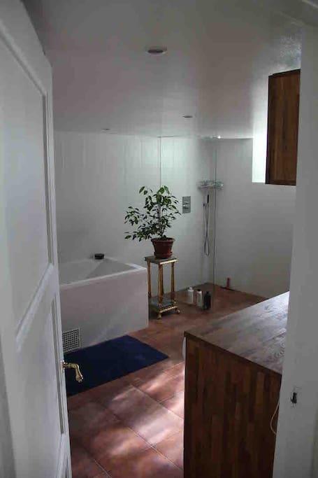 Stor badrum med badkar och dusch