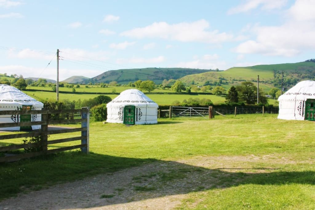 Luxury yurts in glorious rural Shropshire on the Wales - England border.