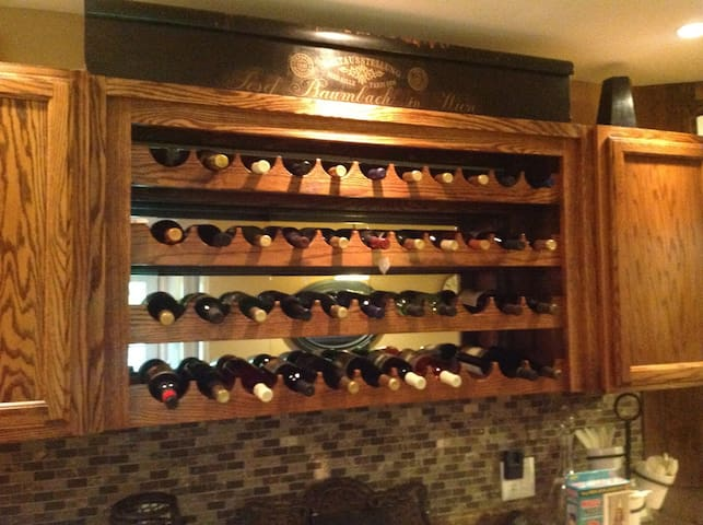 The wine cellar is stocked with the best of the local wineries.