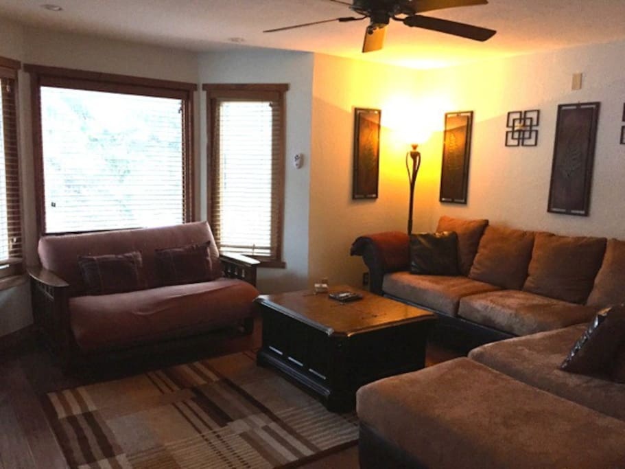 Living Room with Large Sectional and Futon