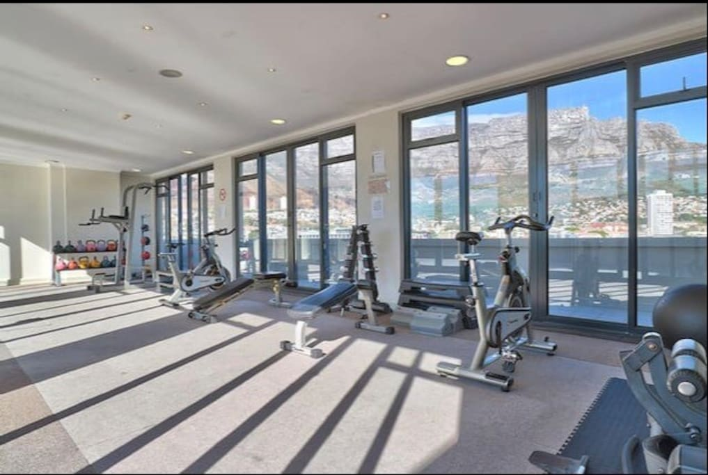 Roof Top gym with a Breathtaking views of Table Mountain