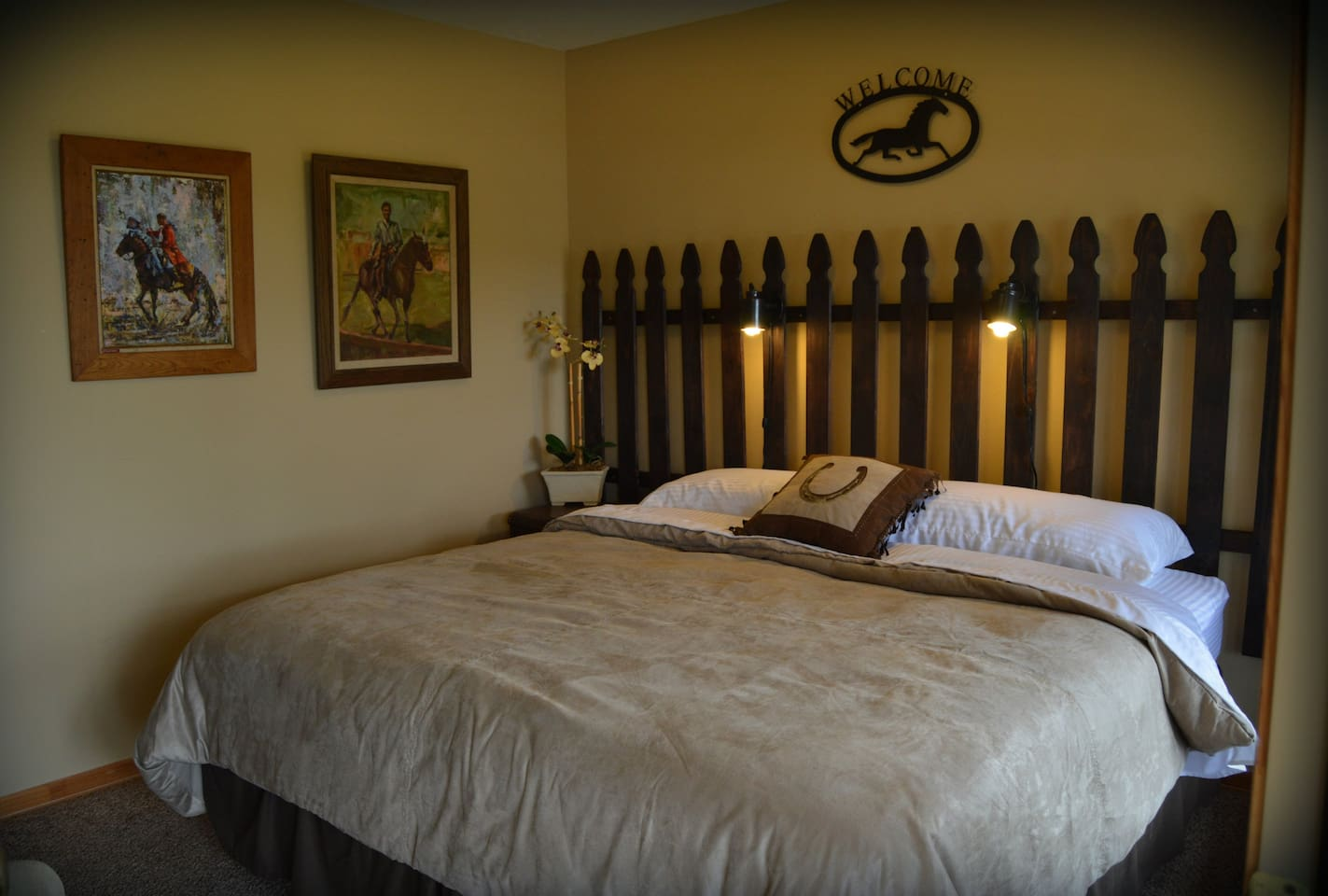 The Equestrian room features a comfortable king sized bed.