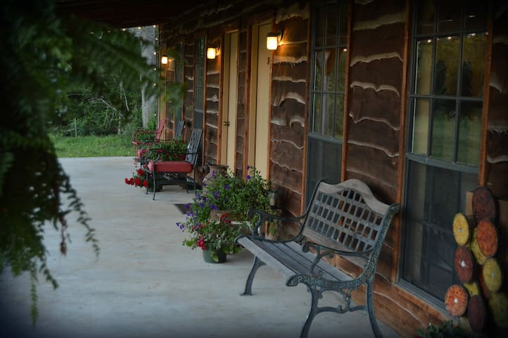The motel patio is the perfect place to watch the sun rise...or set.