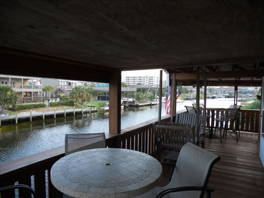 Covered Deck on Salt Water Canal that leads to the Destin Harbor!
