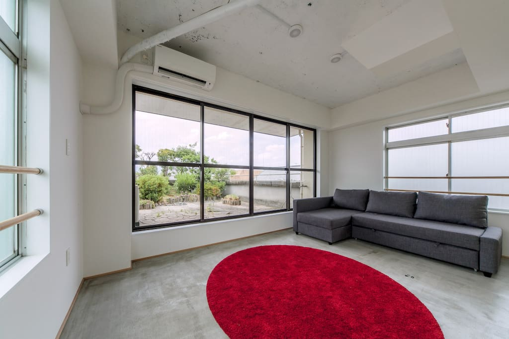 70 m2 penthouse loft (5F) living-room. Now, there are also curtains!