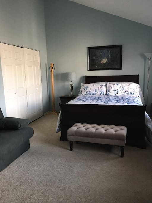 Airbnb Bedroom: including Queen size bed, dresser, night stand, large closet and full size futon (Room can sleep 4)  Full size futon on the left
