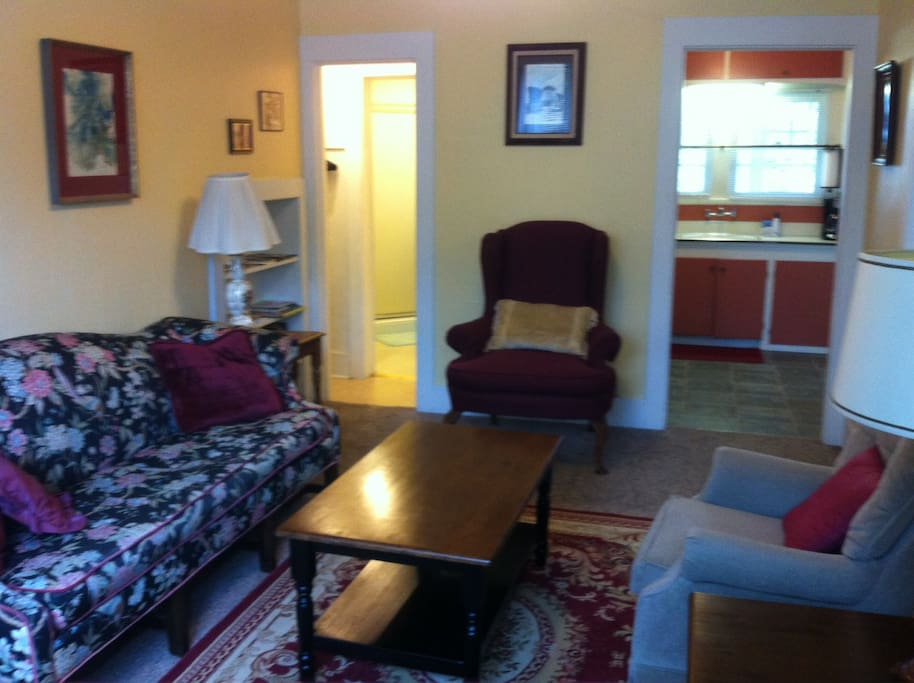 Living room includes cable TV, DVD player, wireless internet, books, games, tourist info.
