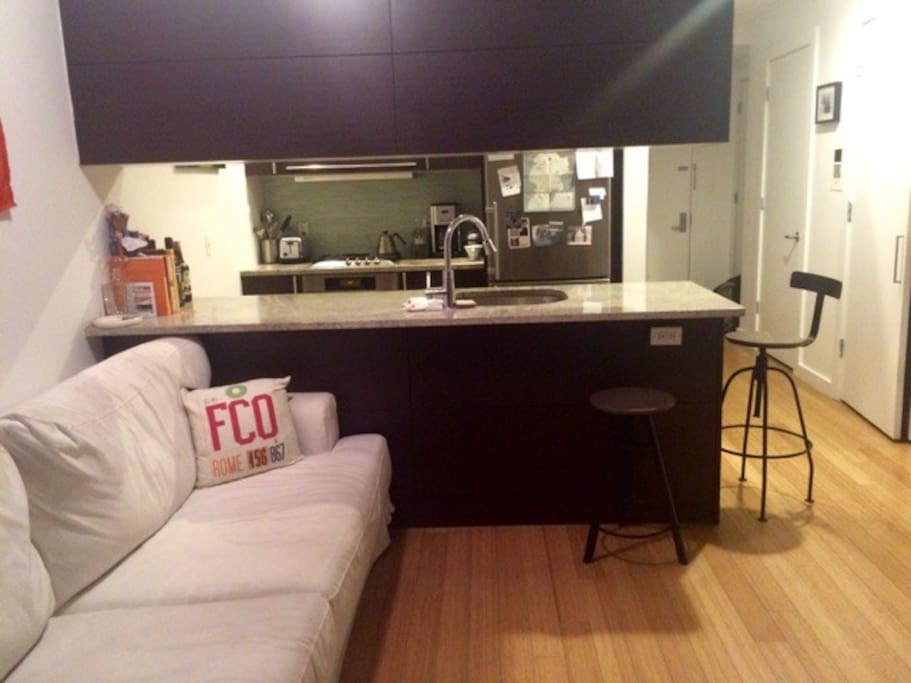 Couch and Kitchen.
