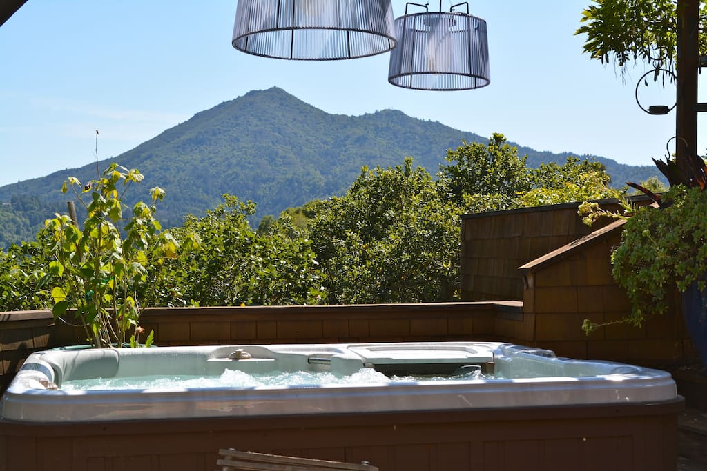 Mount Tamalpais views from hot tub located in shared space of property...