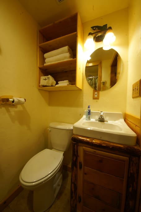The adjoining bathroom. Please see other pictures of the place; it's really cool!