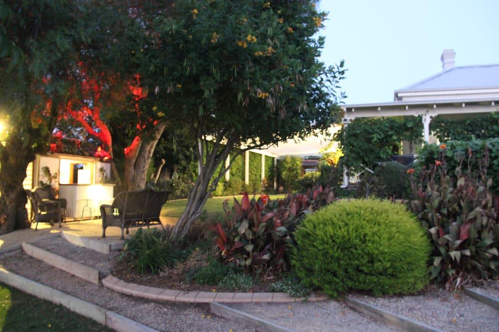 Bar and wall garden area