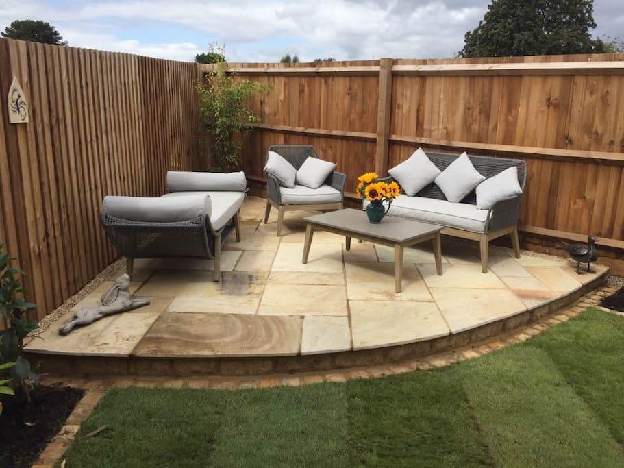 Sunny garden for relaxing