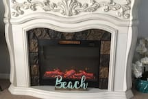 Electric Fireplace sets the mood!