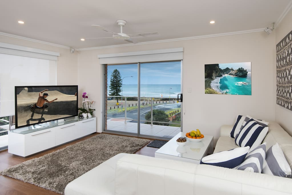 """Lounge room with great views and 55"""" Sony TV & Cinema sound"""