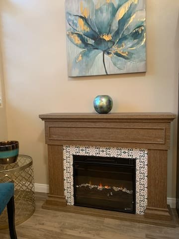 Fireplace in the spacious master bedroom