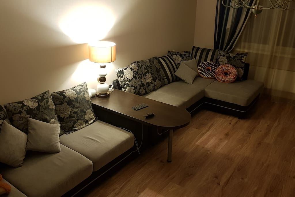 living room, 2 folded sofas