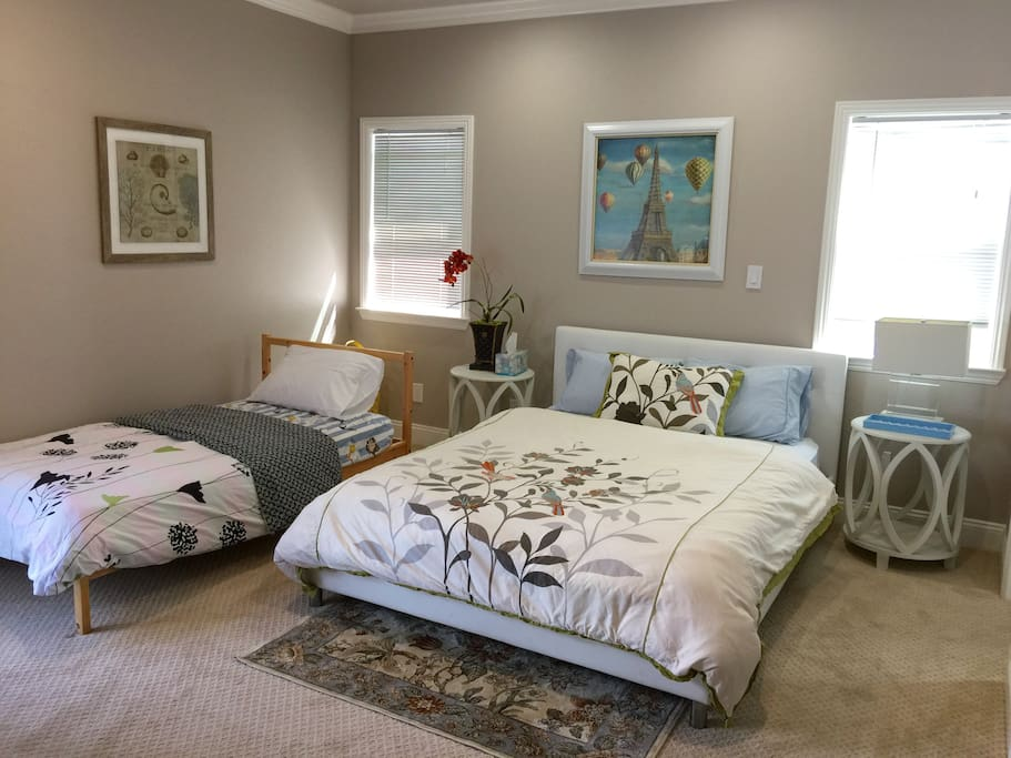 A twin bed is available when requested.
