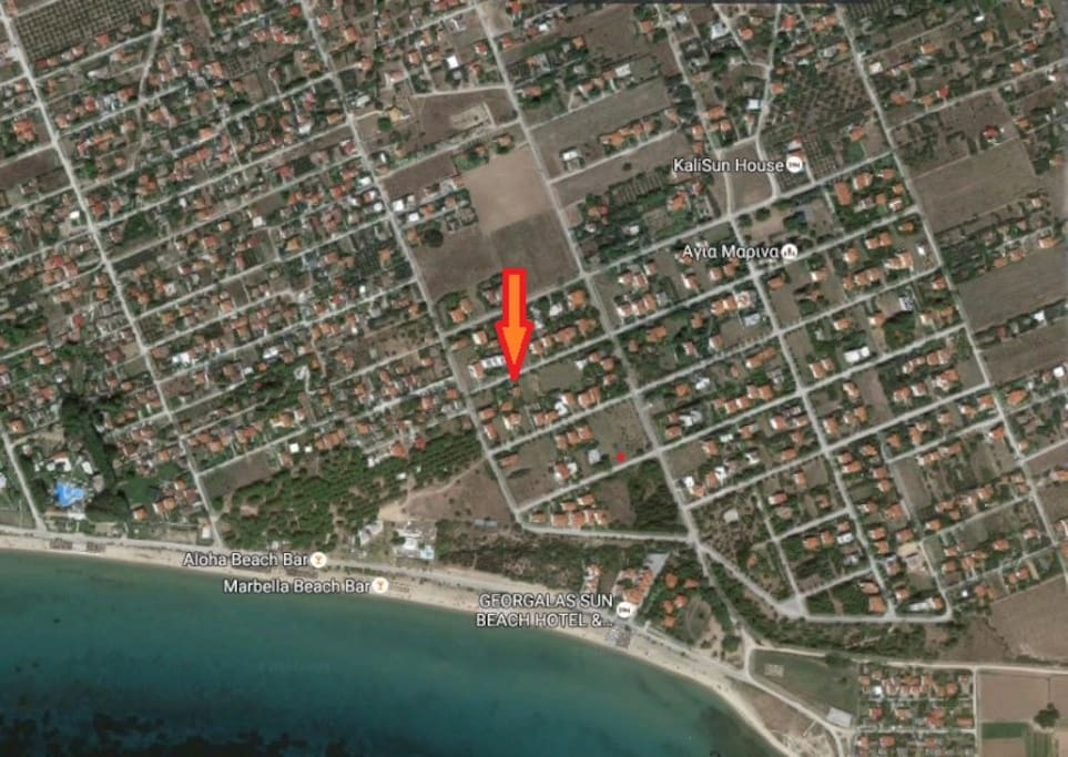 the map, the house, the beach, the bars
