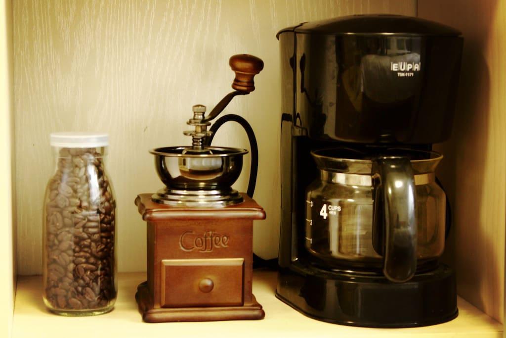 免费使用美式底滤咖啡机、磨豆机、咖啡豆