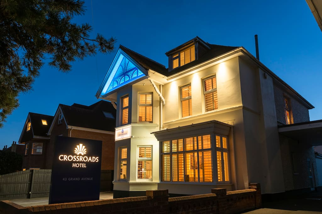 Crossroads Hotel Frontage At Night