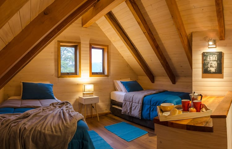 En esta habitación te sentirás en un verdadero refugio de montaña