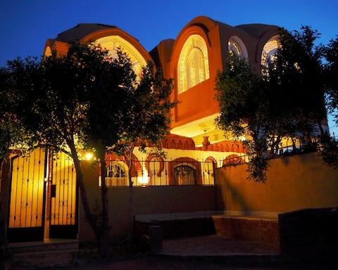 Luxury villa on the desert near temples