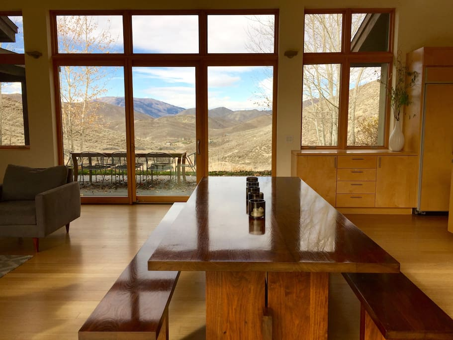 Dining room table and views north of Baldy