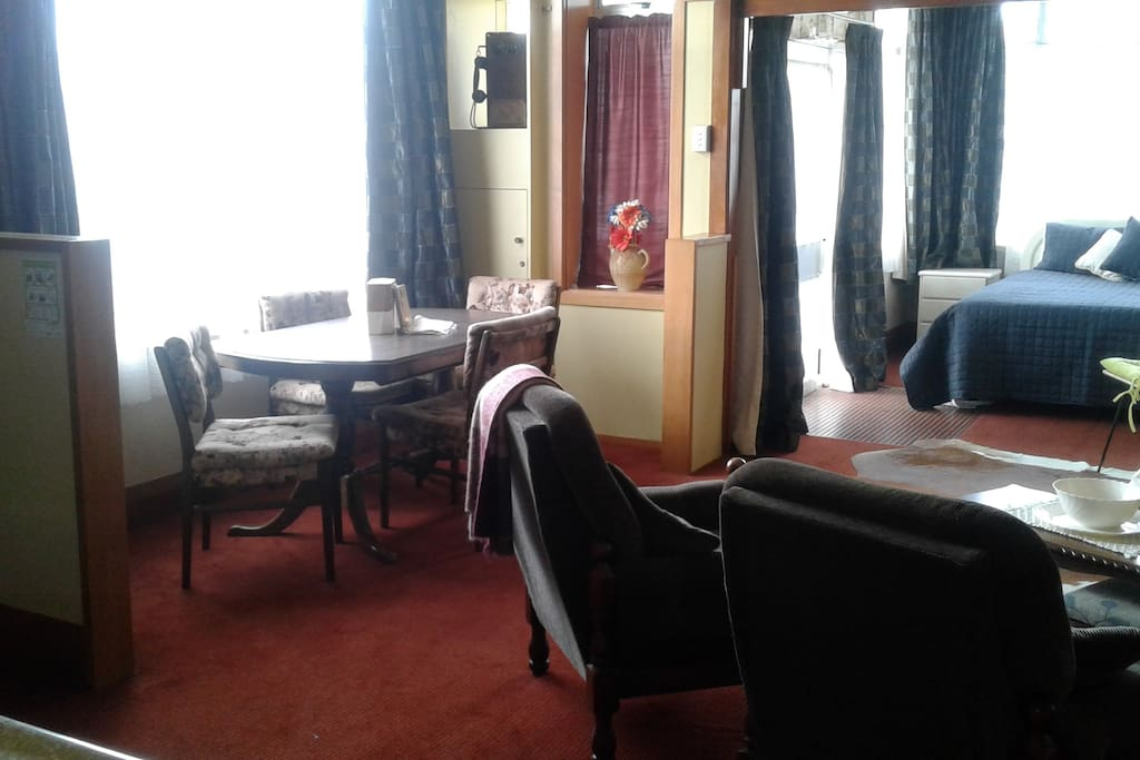 Main room consists of Queen bed(able to be shut off by curtain) lounge, dining and kitchen.