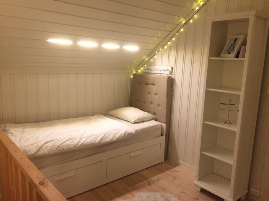 2. Etasje: Soverom med uttrekkbar dobbeltseng samt TV og inngang til bad.