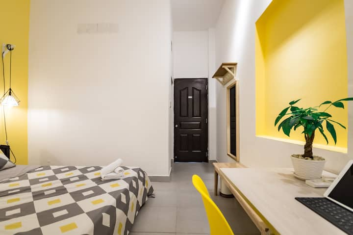 Cozy Yellow Room in D1 heart of SaiGon,⚡⚡50% Off💛💛