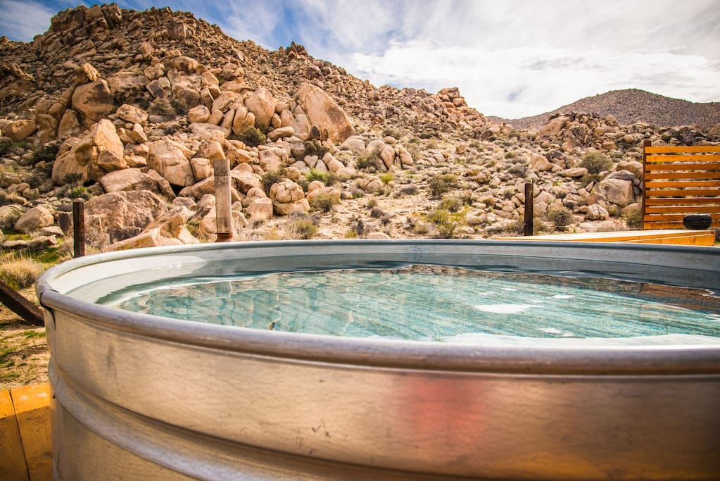 The Stock Tank Pool is 8 feet in diameter and 2 feet deep.  Its intend for cooling off during the hot weather and it is a very welcome thing to soak in this big cold water tank after a hot days hike.  Important note- The pool is emptied from Thanksgiving till April 1st, as it is too cold during these months to use.