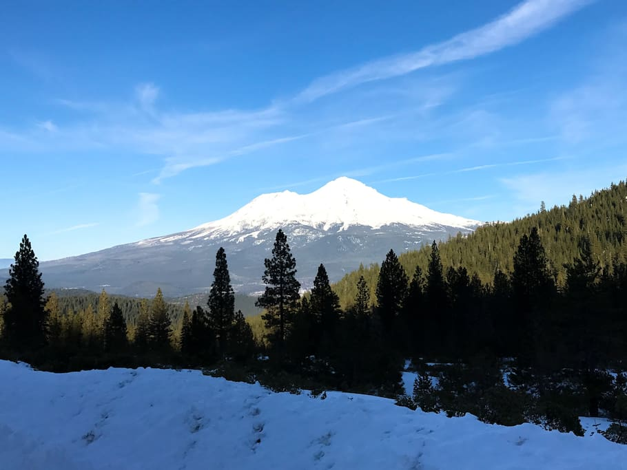 View of Mt Shasta from drive to Castle Lake