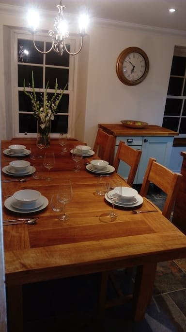 Country style solid oak kitchen table ideal for family get togethers.