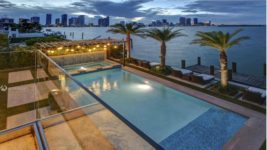 Backyard with Miami skyline