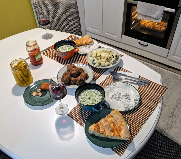 Our food + the last meal in the oven