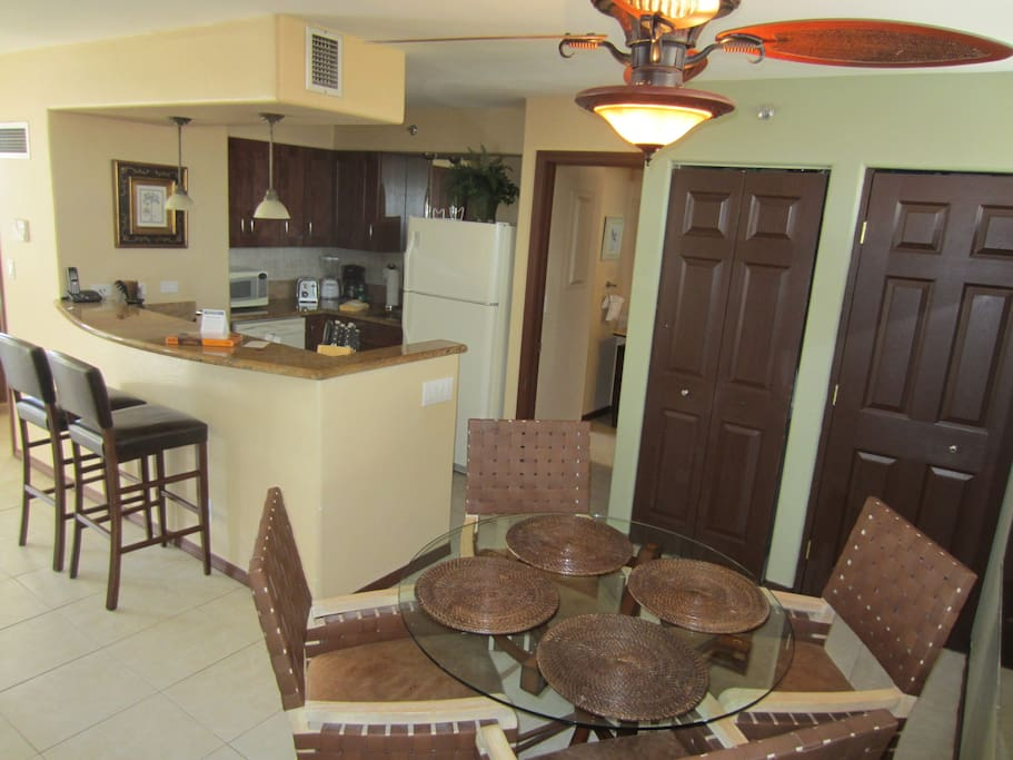 The condo has an open design.  This is the view of the Kitchen and Dining area.
