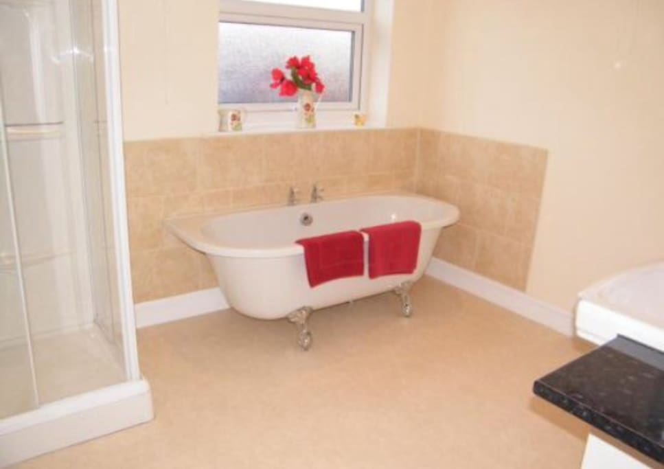 Family bathroom with roll top bath with  separate shower cubicle.