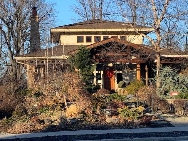 Front of house in the winter