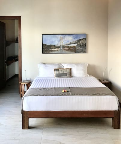 Both air-conditioned bedrooms have King-sized beds with a choice of cotton blanket or doona if desired.