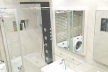 in the bathroom /Salle de bain / Machine à laver / Aquavision / TV/Bluetooth /Safe/shower gel, soap, cream, rinse, hair dryer, hair straightener, deodorant etc included