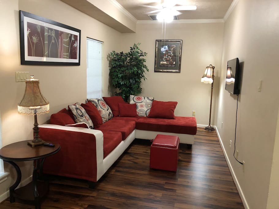 Living room with smart tv so you can watch Netflix, amazon video and other fun features for your nights in