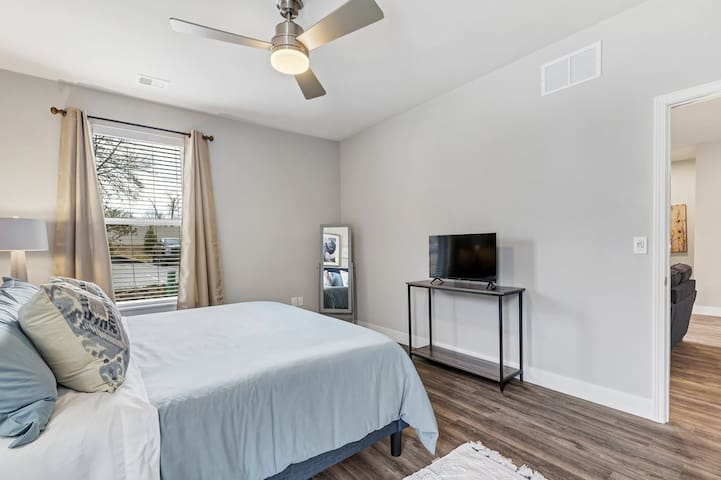 Master bedroom suite with king bed set, Smart TV, newly designed, large walk in closet, private master full bathroom with tub/shower.