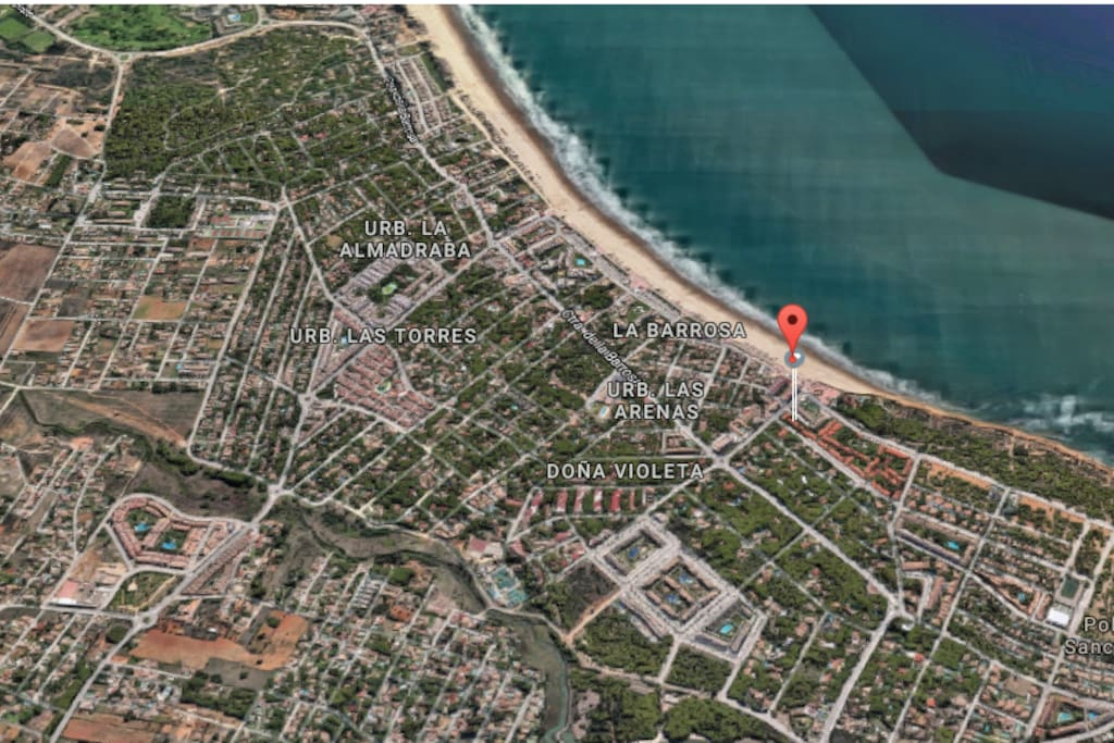 Vista aérea de la zona, con ubicación de la casa