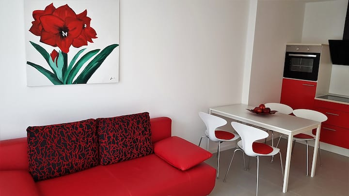 """Modernes 2-Zimmer Apartment """"Rot-Weiß"""""""