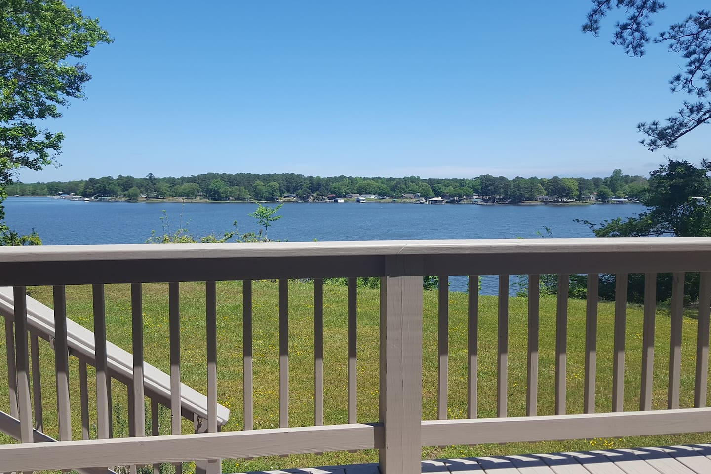 View from deck - Piankatank River - on Private 6 Acres - Pier and Sand Beach